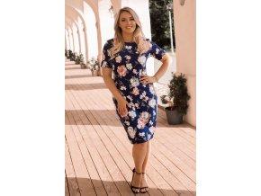Modré šaty so svetlo-ružovými kvetmi