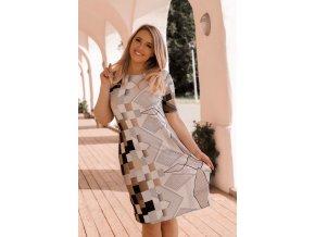 Tričkové šaty s geometrickým vzorom - hnedá
