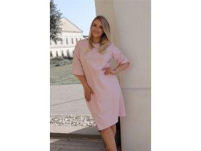 Svetlo-ružové šaty s krátkym rukávom
