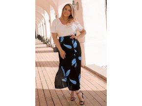 Čierno-modrá kvetinová sukňa
