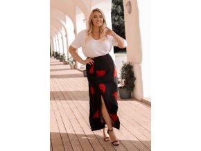 Čierno-červená dámska sukňa