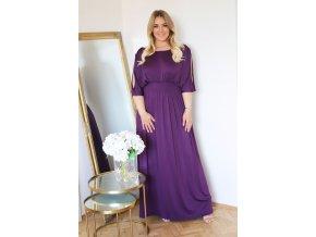 Dlhé voľné šaty s vykrojenými rukávmi vo fialovej