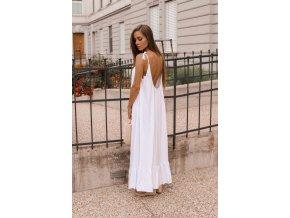Maxi šaty s odhaleným chbrtom - biela