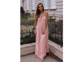 Maxi šaty s odhaleným chbrtom - staro-ružová