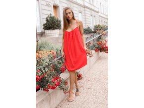 Voľné šaty s odhaleným chrbtom - červená