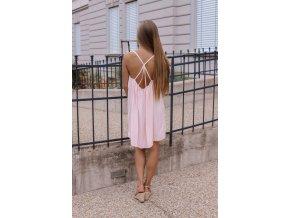 Voľné šaty s odhaleným chrbtom - svetlo-ružová