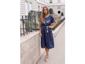 Ležérne šaty WEEKEND s opaskom - tmavo-modrá