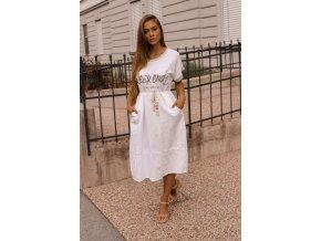 Ležérne šaty WEEKEND s opaskom - biela