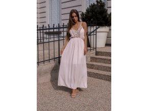 Dlhé svetlo-ružové šaty na ramienka