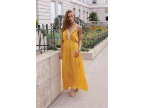 Dlhé horčicovo-žlté šaty na ramienka