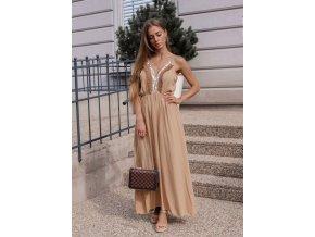 Dlhé hnedé šaty na ramienka