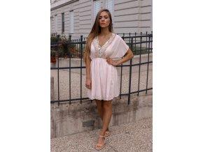 Krátke voľné šaty - svetlo-ružová