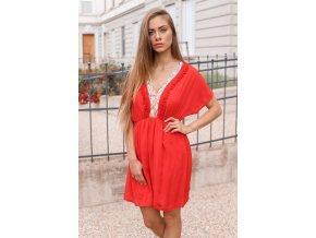 Krátke voľné šaty - červená