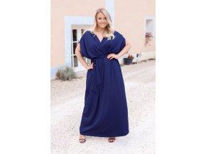 Dlhé tmavo-modré šaty so širokými rukávmi