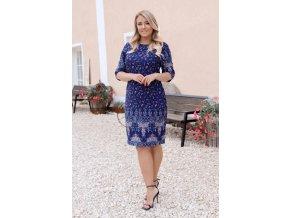 Tmavo-modré šaty s trojštvrťovým rukávom