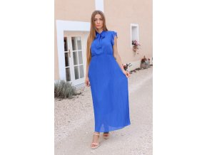 Dlhé modré šaty s mašľou ku krku