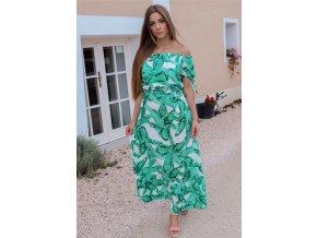 Maxi šaty so vzorom palmových listov