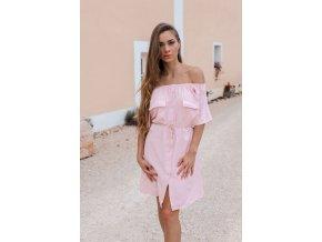 Svetlo-ružové košeľové šaty