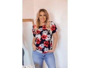Tmavomodré tričko s červeno-bielymi kvetmi