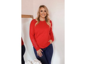 Červený sveter s čipkou