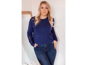 Tmavo-modrý sveter s čipkou