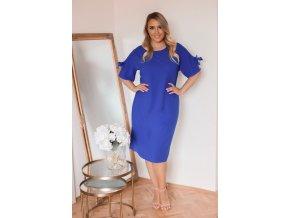 Modré šaty s krátkym rukávom
