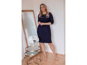 Tmavo-modré šaty s čipkovaným vrchom