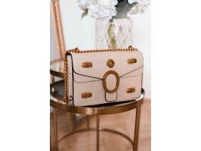 Trendy béžovo-zlatá kabelka