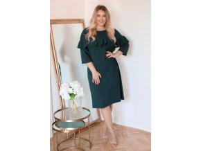 Tmavo-zelené šaty s volánom