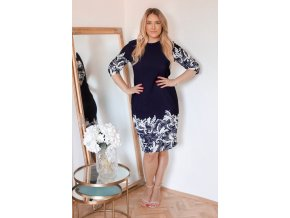 Tmavo-modré šaty s bielym vzorom