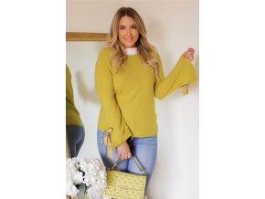 Žltý sveter s mašľami na rukávoch