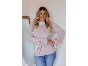 Staro-ružový sveter s mašľami na rukávoch