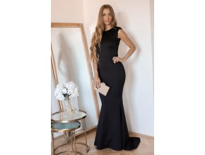 Dlhé čierne šaty s aplikáciou na chrbte