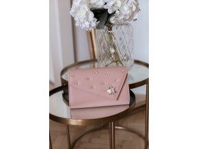 Svetlo-ružová listová kabelka s aplikáciou