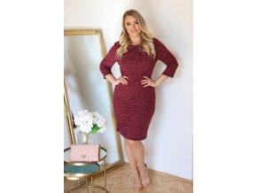 Bordové svetrové šaty s volánom