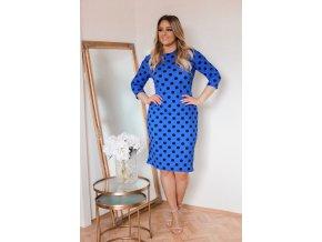 Modré bodkované šaty s trojštvrťovým rukávom