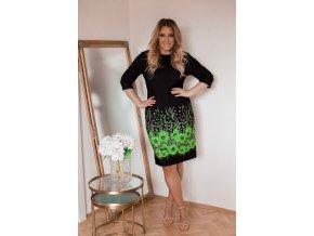 Čierno-zelené kvetinové šaty