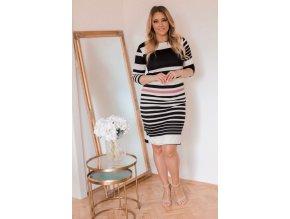 Čierno-biele prúžkované šaty
