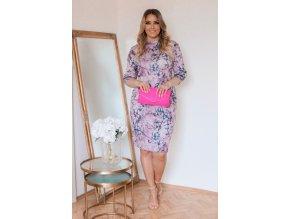 Ružovo-sivé kvetinové šaty po kolená