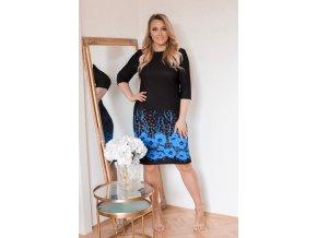 Čierno-modré kvetinové šaty