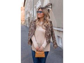Hnedá jesenná bunda s leopadím vzorom