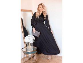Dlhé čierne saténové šaty