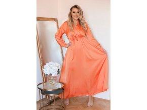 Dlhé oranžové saténové šaty