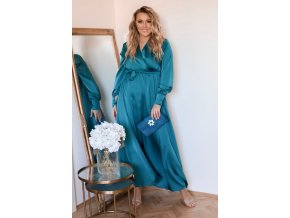 Dlhé modro-zelené saténové šaty