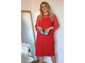 Červené šaty s transparentnými rukávmi