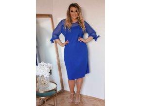 Modré šaty s transparentnými rukávmi