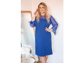 Dámske modré šaty s transparentnými rukávmi