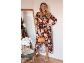 Farebné asymetrické šaty s dlhým rukávom