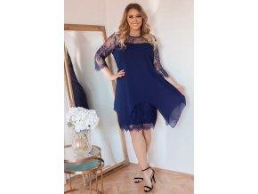 Tmavo-modré šaty s čipkou