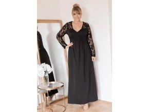 Dlhé čierne šaty s čipkovanými rukávmi